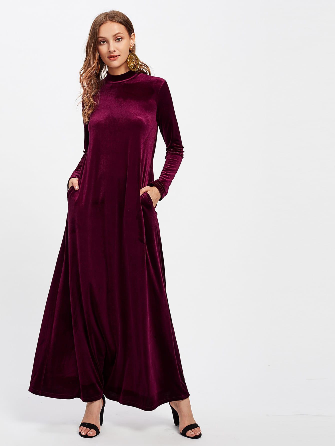 44504abd56 Shein – Mock Neck Pocket Side Velvet Kaftan Dress just $25 + FREE ...