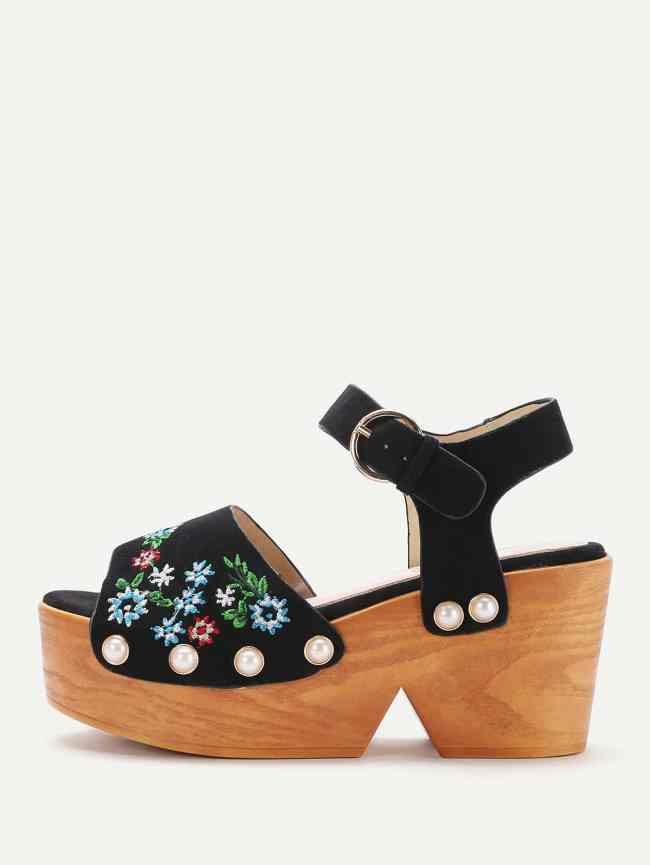 SheIn Flower Embroidered Wedge Sandals With Faux Pearl
