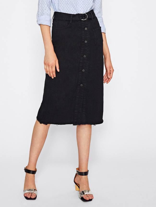 SheIn Button Front Frayed Hem Denim Skirt