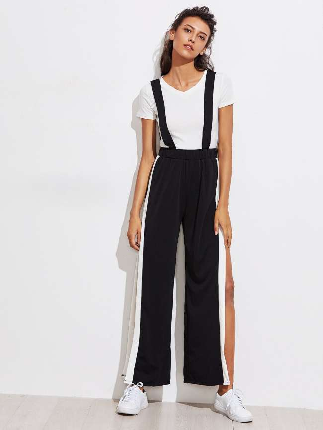 SheIn Side Panel Split Pinafore Jumpsuit
