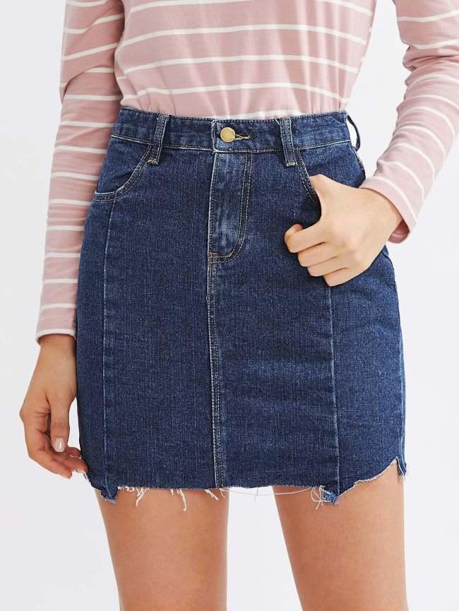 SheIn Raw Cut Hem Denim Skirt