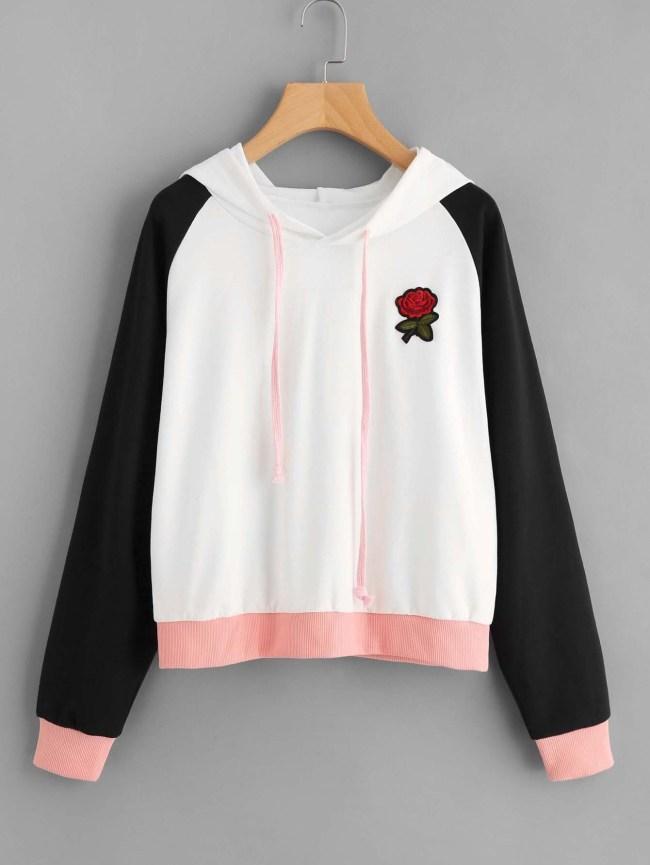 SheIn Contrast Raglan Sleeve Rose Patch Hoodie