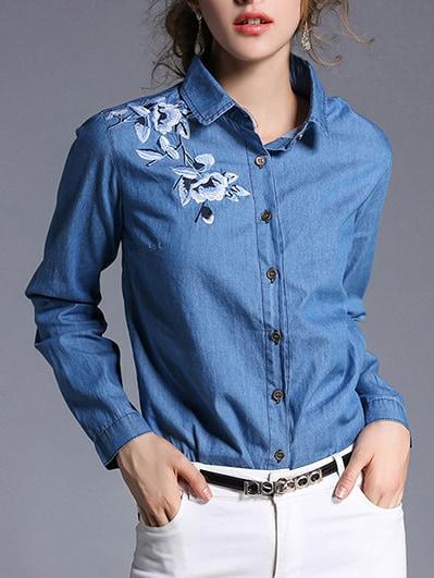 SheIn Flower Embroidered Denim Shirt