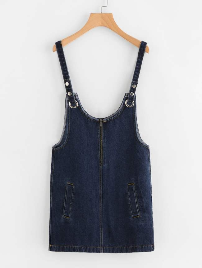 SheIn Dark Wash Detachable Strap Denim Overall Dress