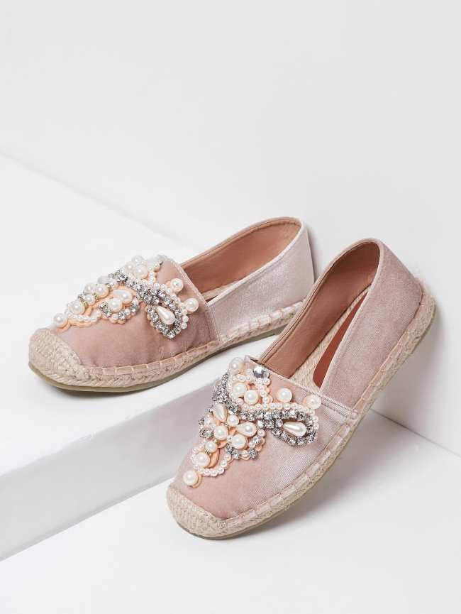 SheIn Jewelry Decorated Cap Toe Espadrille Flats