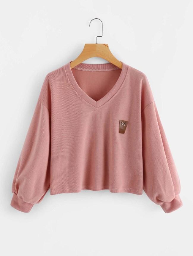 SheIn V Neckline Lantern Sleeve Patch Sweatshirt