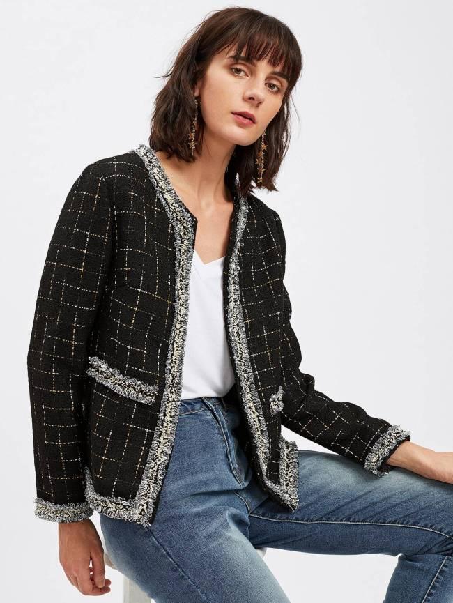 SheIn Frayed Trim Open Front Grid Tweed Blazer