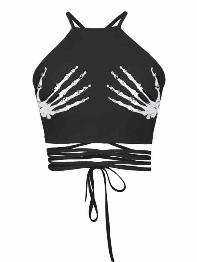 SheIn Halloween Skeleton Hand Tie Detail Top