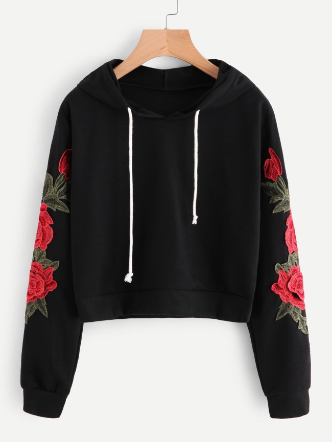 SheIn Embroidered Rose Applique Sleeve Hoodie