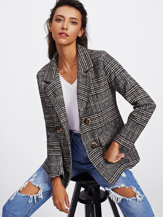 SheIn Wales Check Tweed Blazer