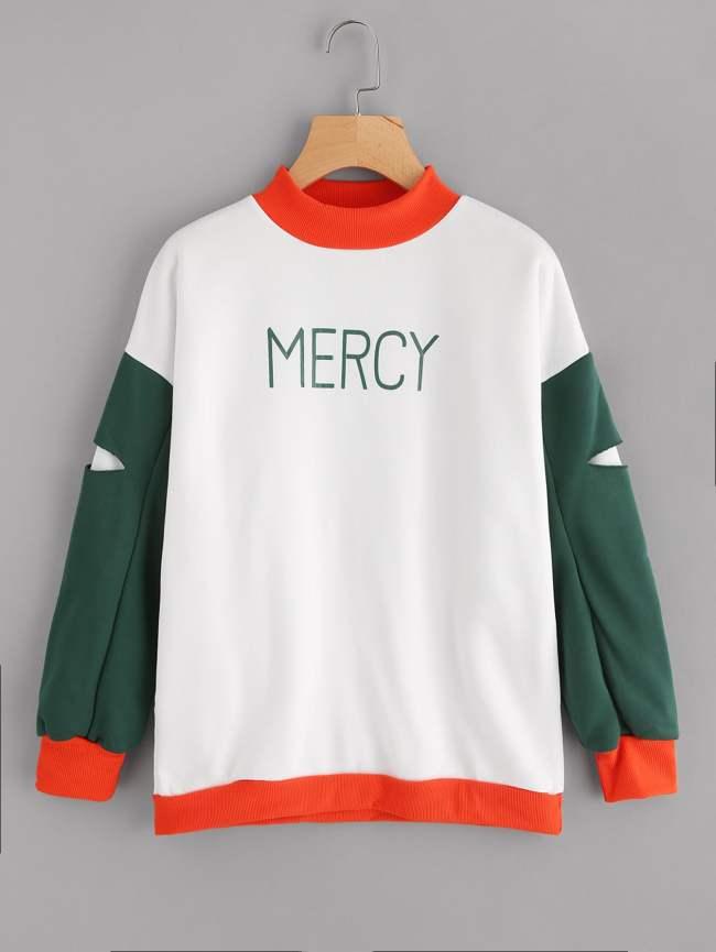 SheIn Letter Print Color Block Cutout Sleeve Sweatshirt