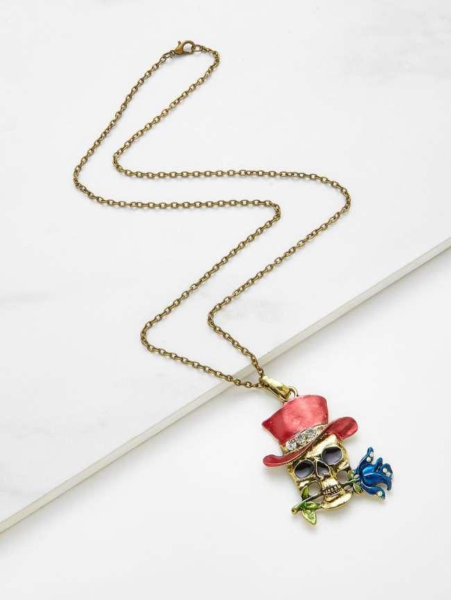 SheIn Skeleton Magician Pendant Chain Necklace