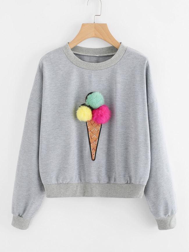 SheIn Faux Fur Pom Pom Ice Cream Sweatshirt
