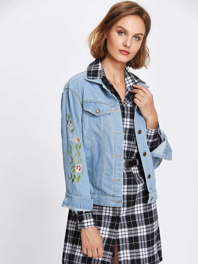 SheIn Floral Embroidered Button Front Denim Jacket With Pockets
