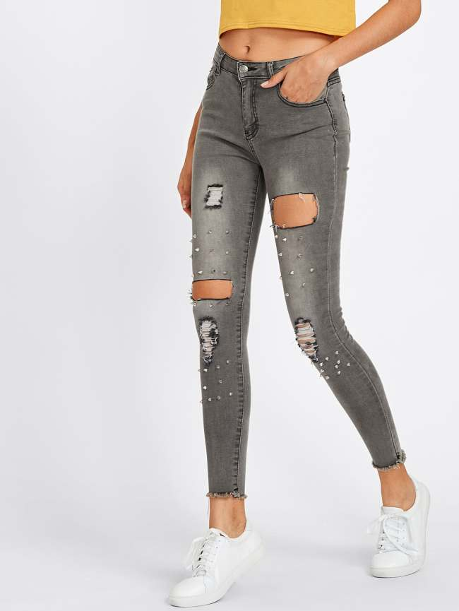 SheIn Raw Hem Rivet Ripped Jeans