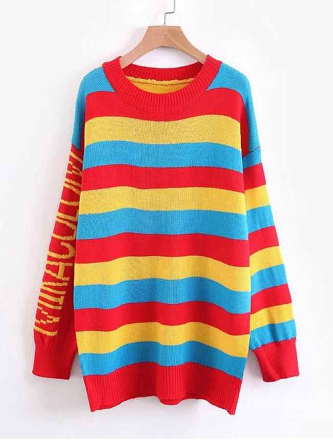 SheIn Block Striped Longline Sweater