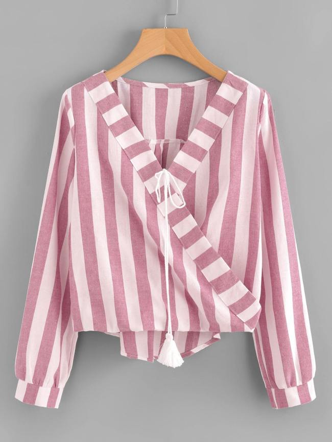 SheIn Contrast Striped Surplice Neckline Tassel Tie Blouse