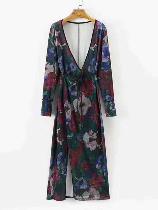 SheIn Surplice Neckline Tied Floral Velvet Kimono