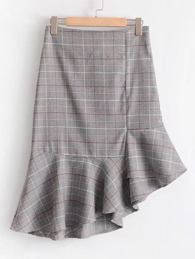 SheIn Plaid Asymmetrical Fluted Skirt