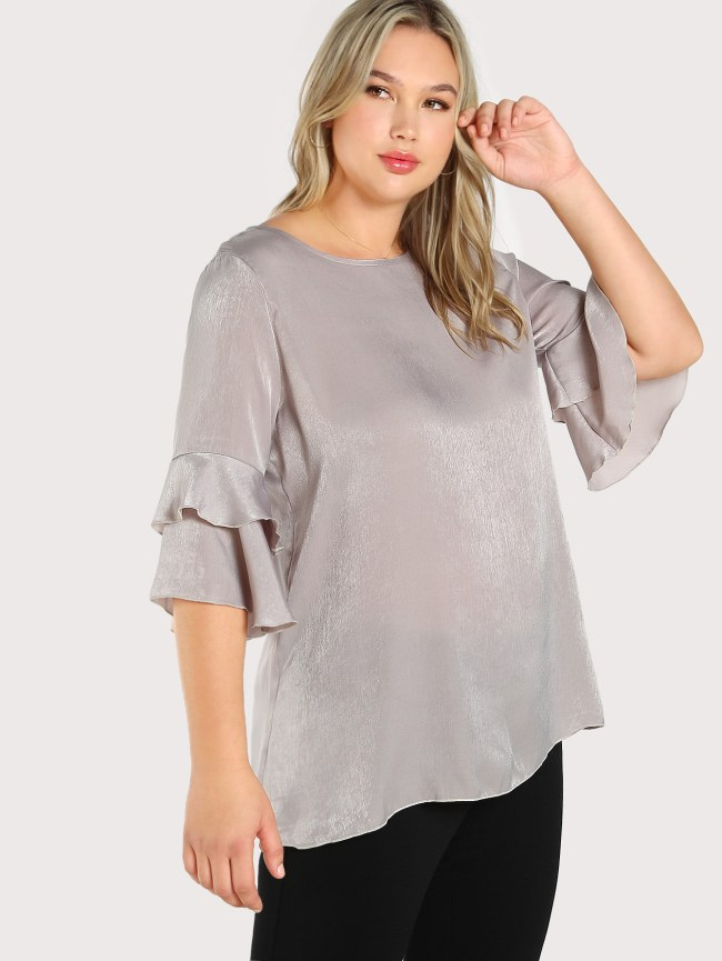 SheIn Buttoned Keyhole Back Layered Fluted Sleeve Top
