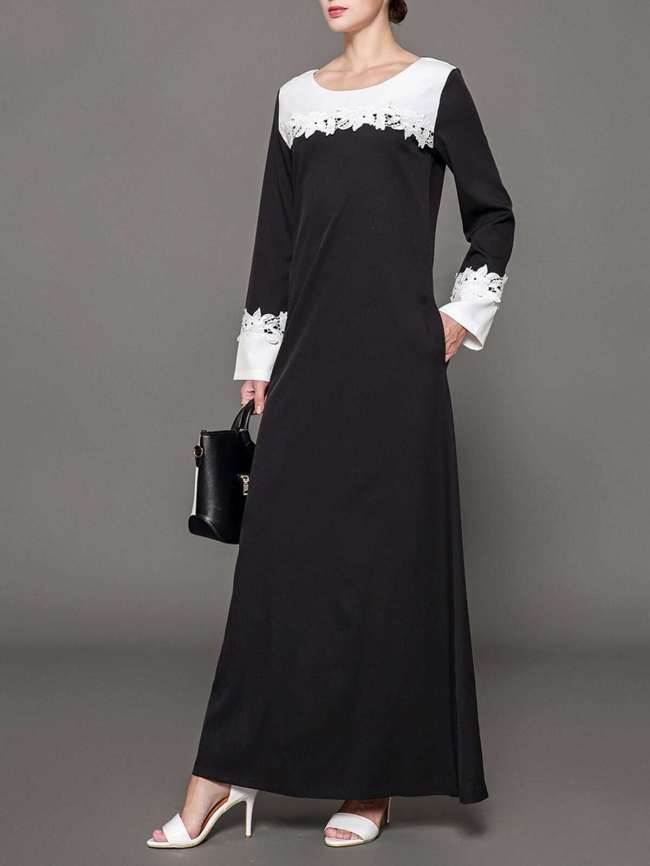 SheIn Lace Crochet Contrast long hijab dress