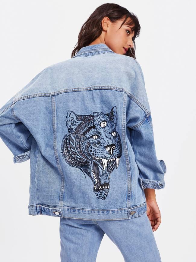 SheIn Bleach Wash Tiger Print Drop Shoulder Denim Jacket