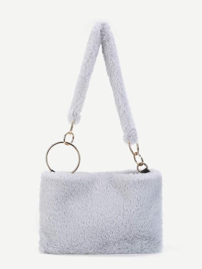 SheIn Ring Linked Faux Fur Shoulder Bag