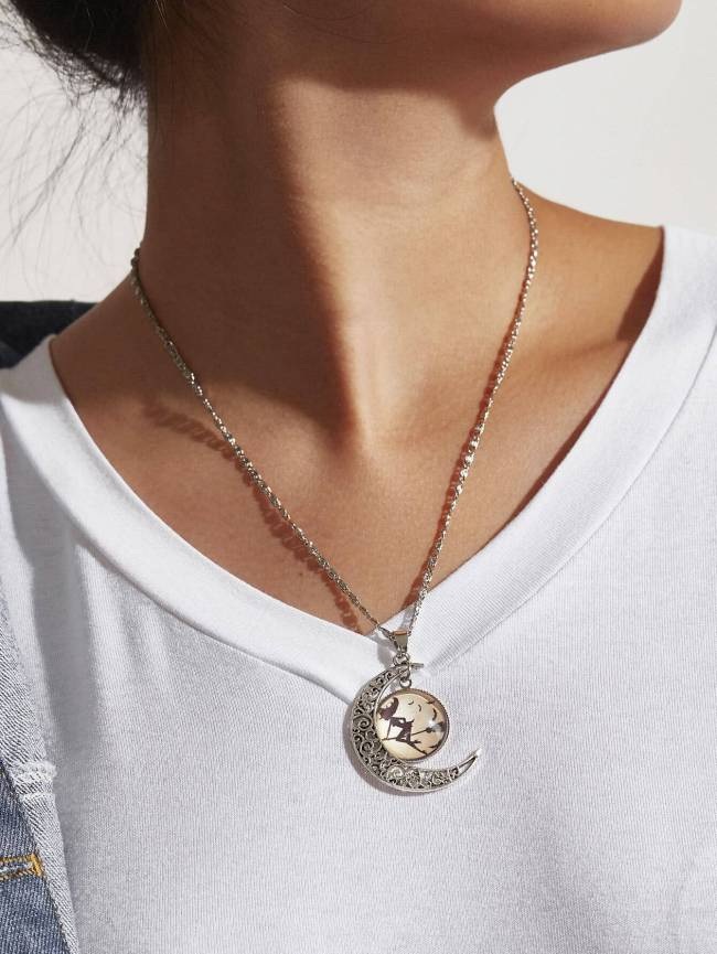 SheIn Witch & Moon Design Pendant Necklace