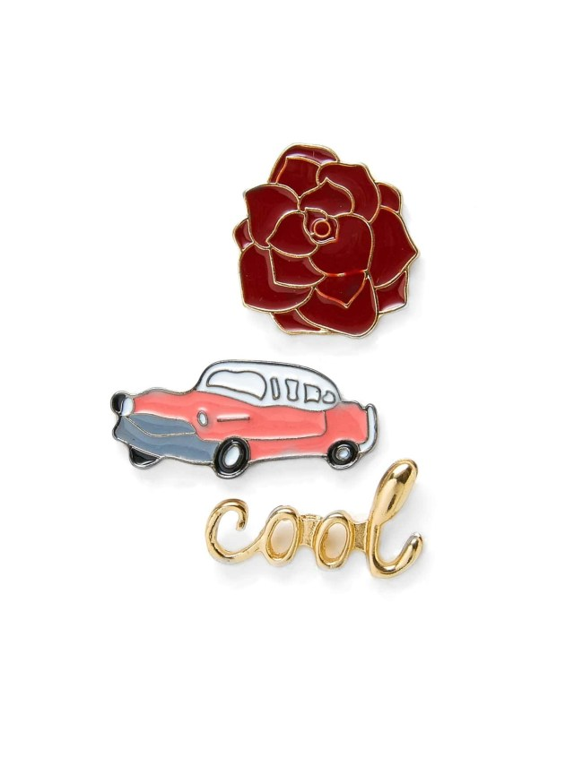 SheIn Car & Flower Design Brooch Set