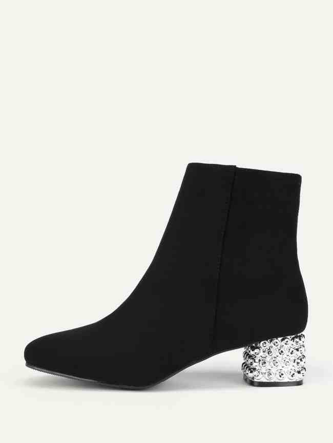 SheIn Side Zipper Block Heeled Ankle Boots