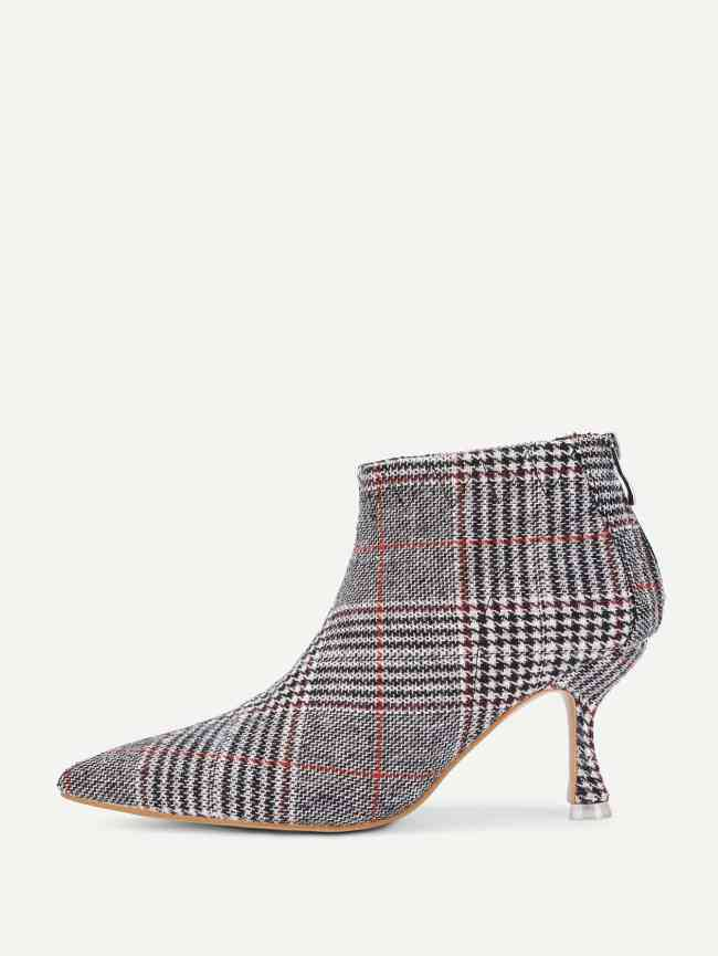 SheIn Kitten Heeled Plaid Ankle Boots