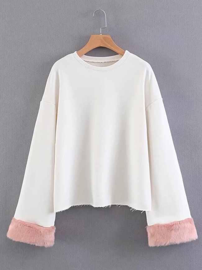 SheIn Faux Fur Cuff Frayed Hem Sweatshirt