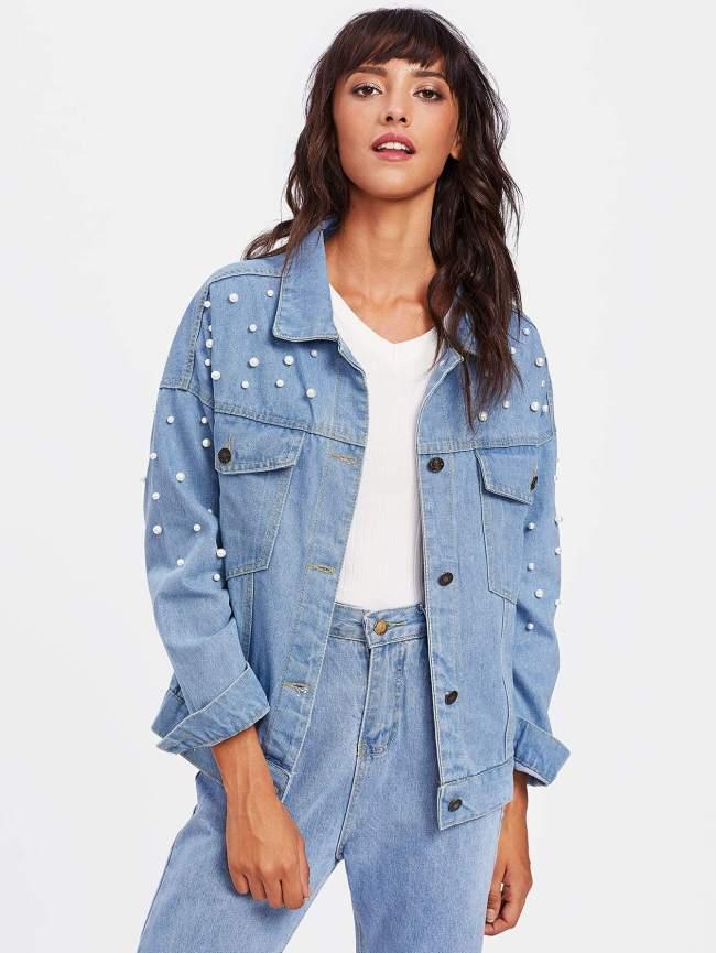 SheIn Faux Pearl Drop Shoulder Denim Jacket