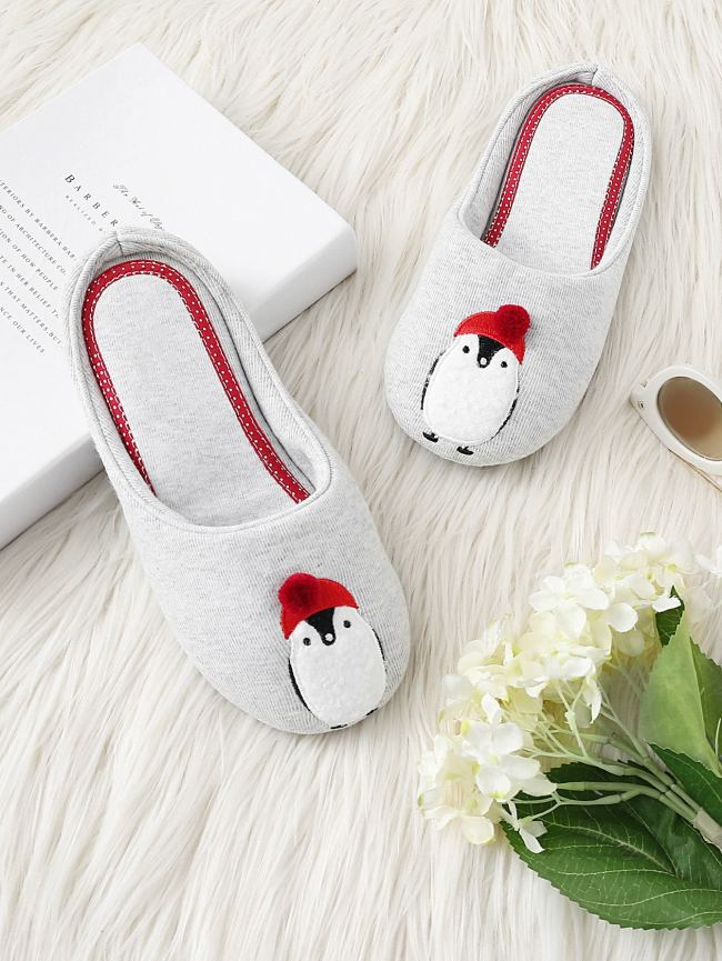SheIn Penguin Embroidery Slippers
