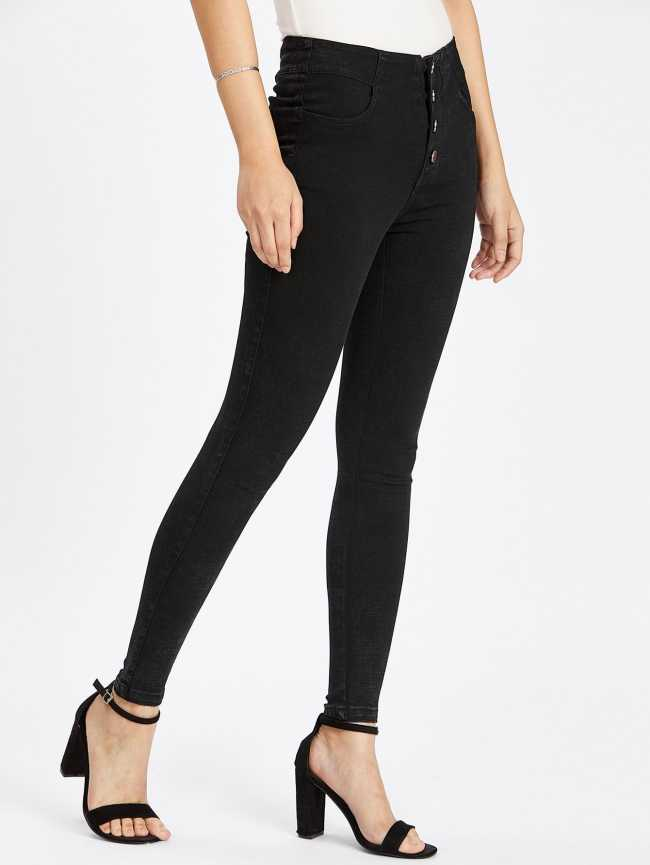 SheIn Button Front Lace Up Back Skinny Jeans