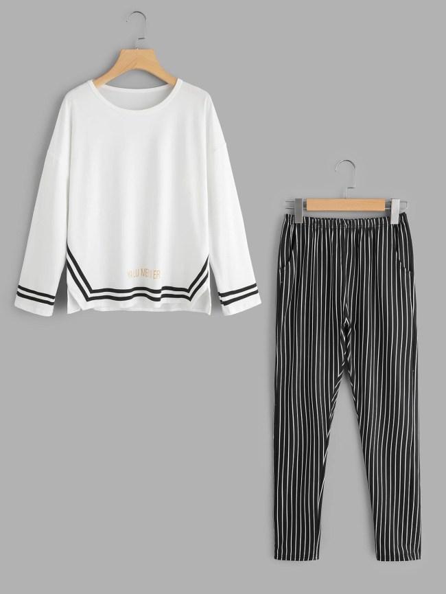 SheIn Contrast Trim Top And Stripe Pants Pajama Set