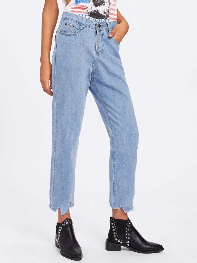 SheIn Bleach Wash Ripped Hem Jeans