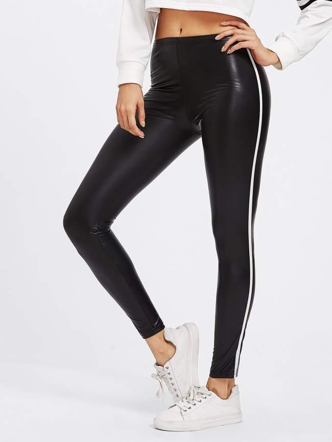 SheIn Stripe Side Faux Leather Leggings