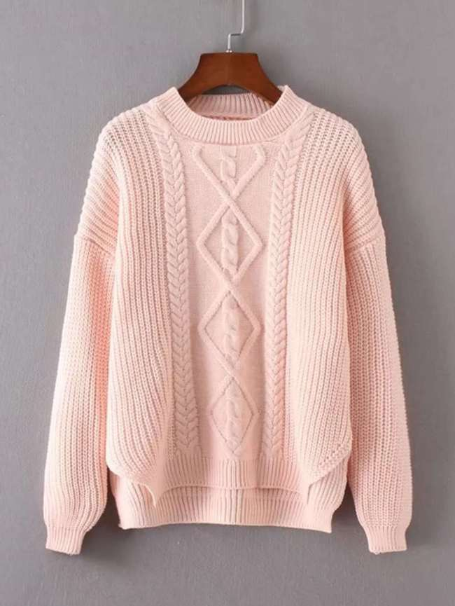 SheIn Cable Knit Dip Hem Sweater