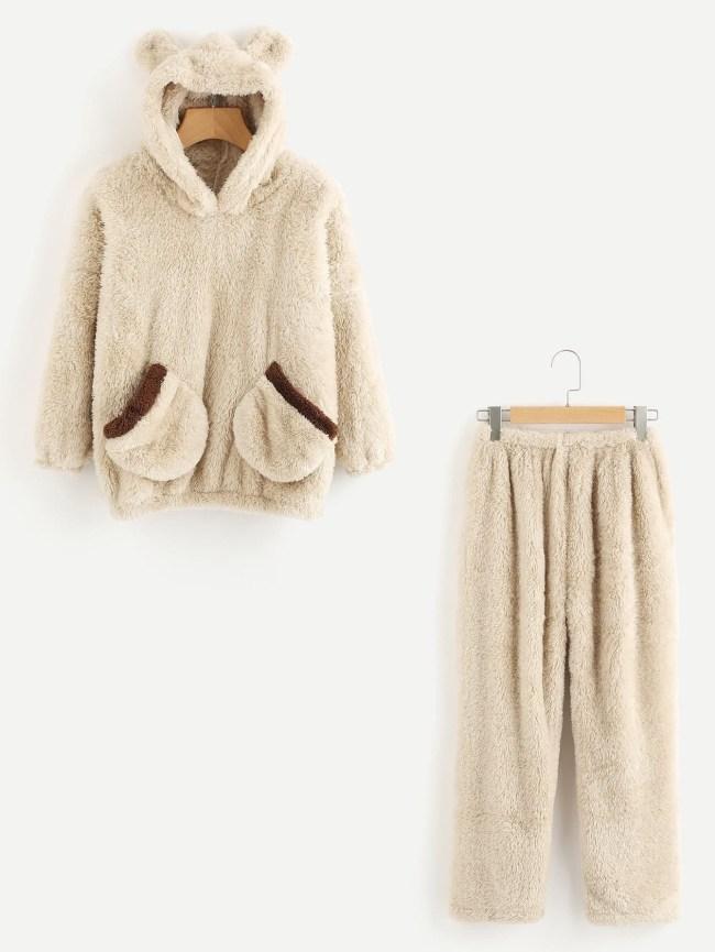 SheIn Bear Ear Hooded Top And Pants Pajama Set
