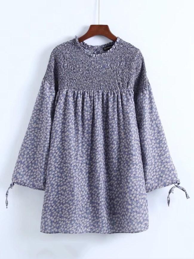 SheIn Calico Print Shirred Smock Dress