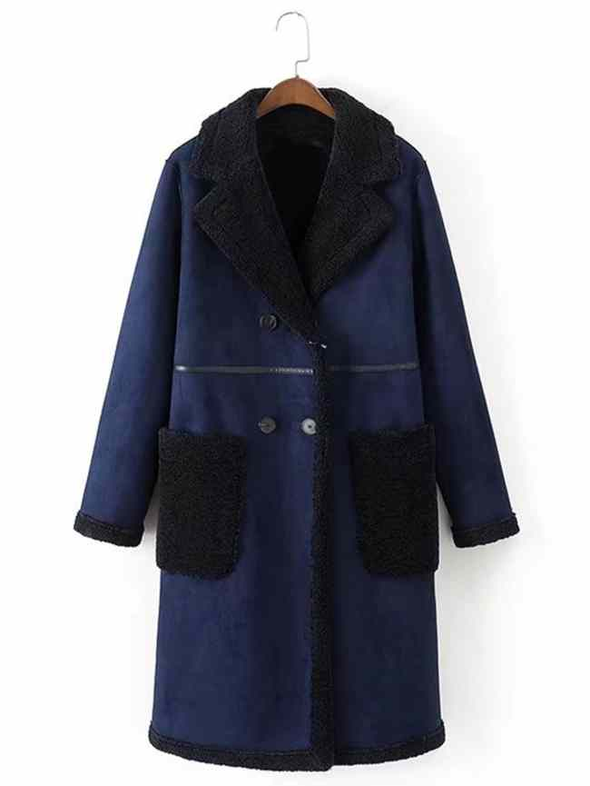 SheIn Seam Detail Coat With Contrast Sherpa Lined & Pocket