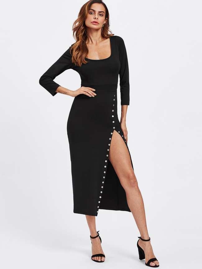 SheIn Side Split Studded Detail Dress