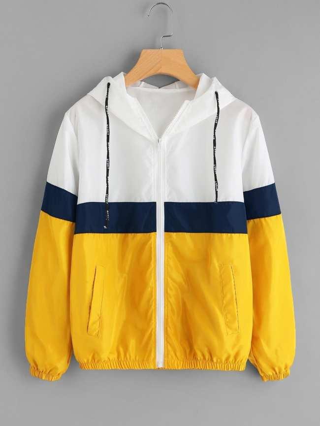 SheIn Color Block Elastic Waist Drawstring Jacket
