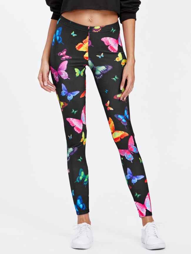 SheIn Butterfly Print Skinny Leggings