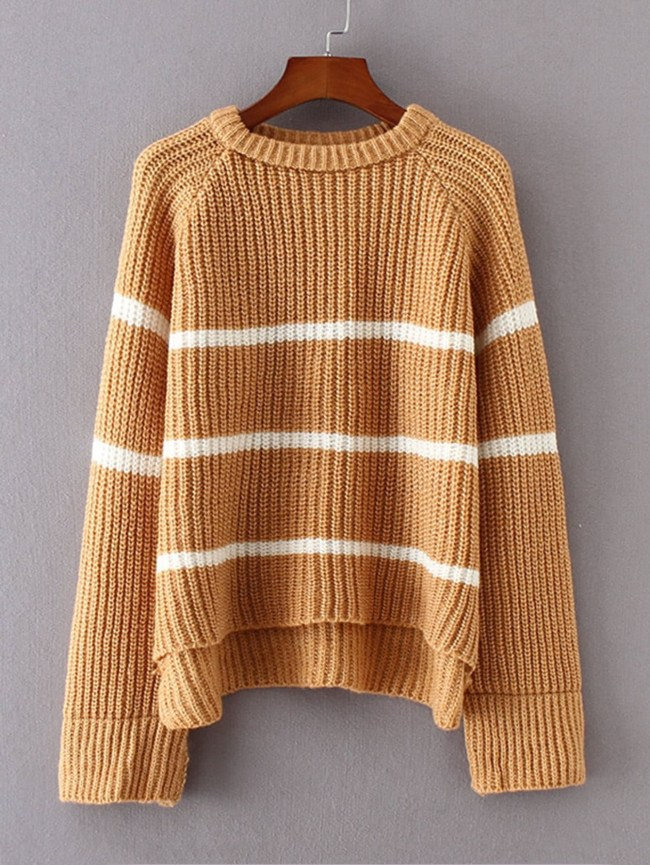 SheIn High Low Striped Raglan Sweater