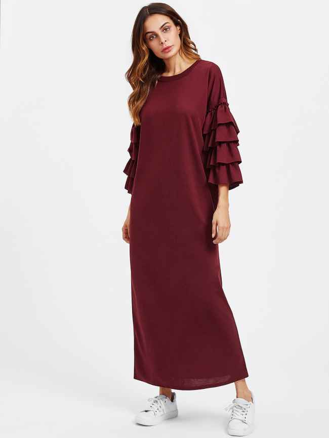 SheIn Tiered Frill Sleeve Long Hijab Dress