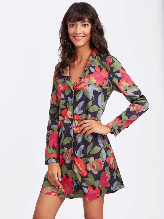 SheIn Random Florals Revere Collar Shirt Dress