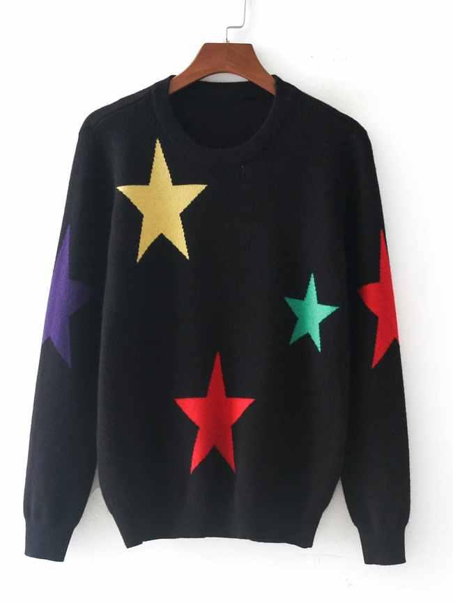 SheIn Star Pattern Jersey Jumper