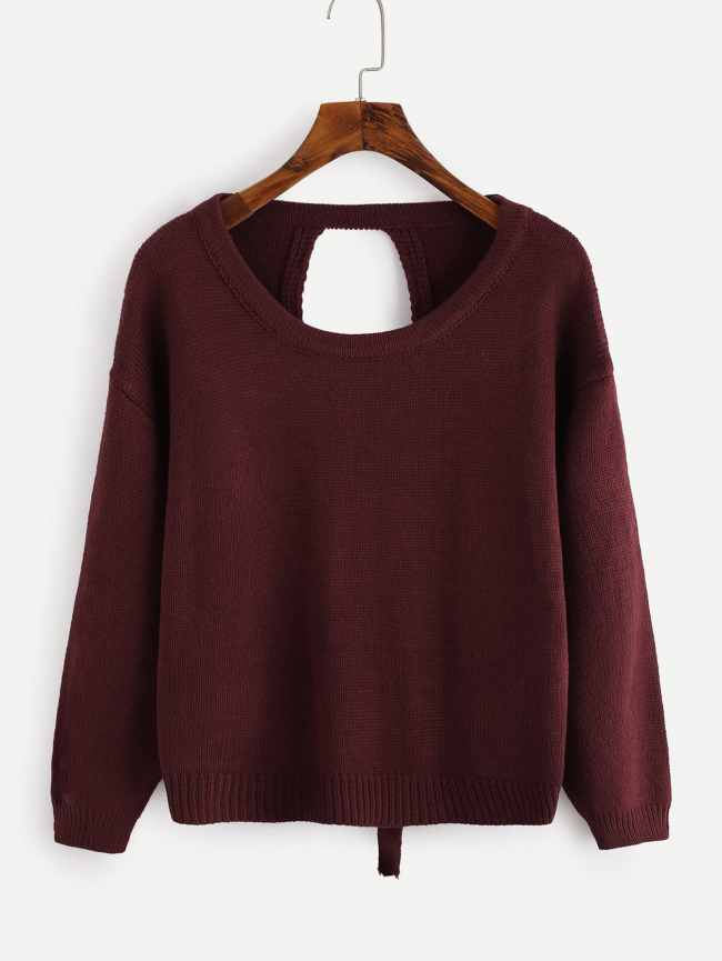 SheIn Drop Shoulder Lace Up Open Back Sweater
